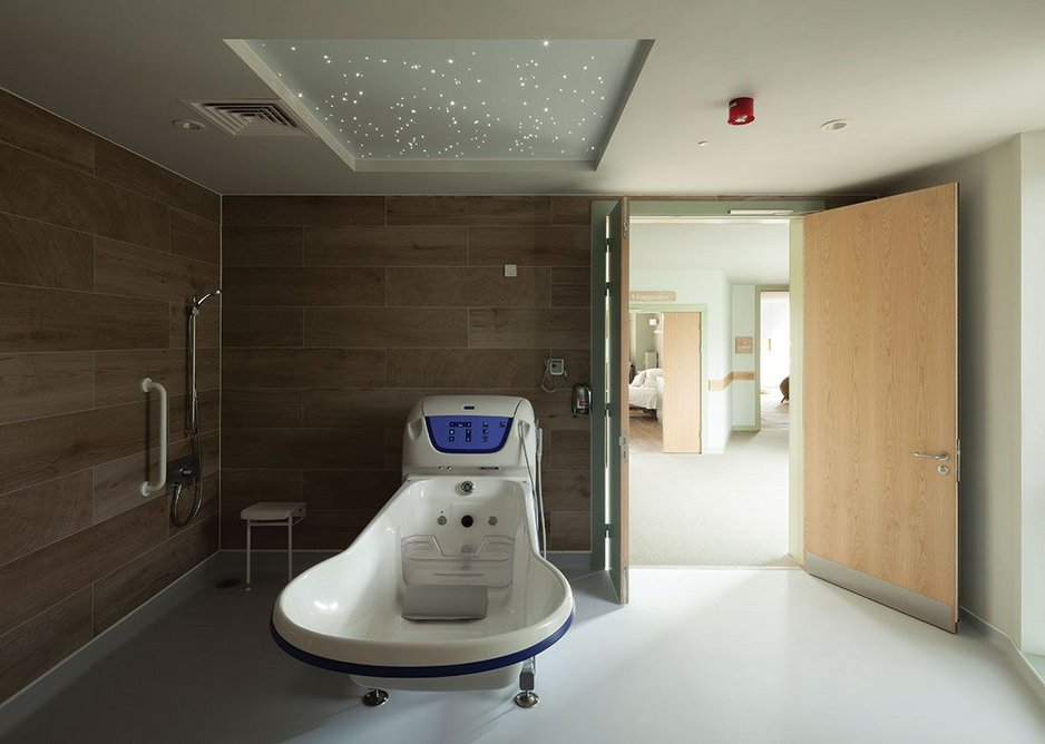 One of the two assisted bathrooms. Patients can customise the room with the Starscape twinkling light.