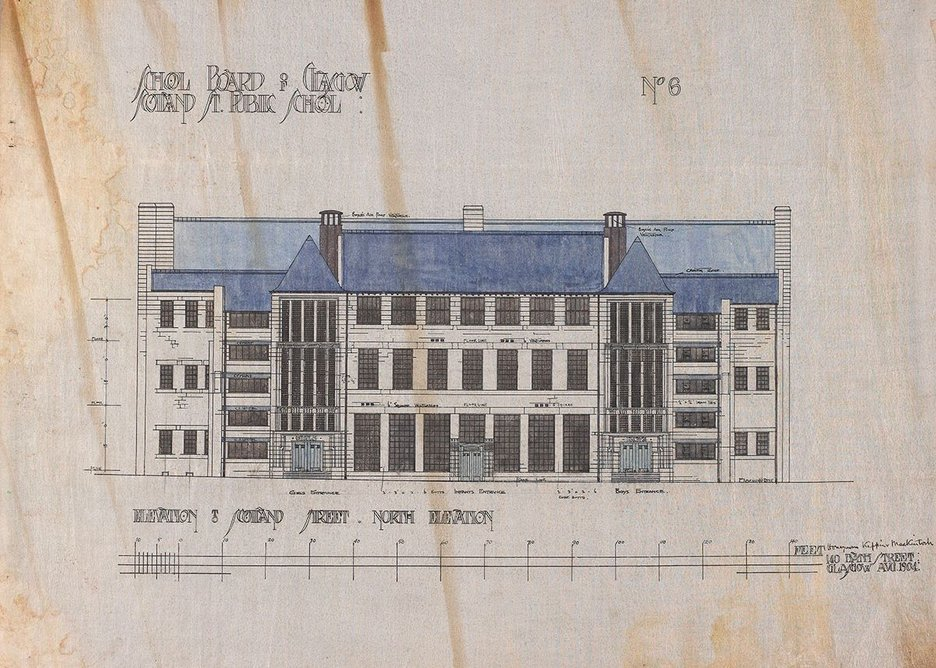 Charles Rennie Mackintosh Scotland St School North elevation, 1904