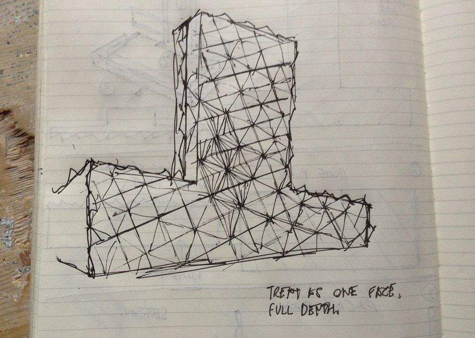 Conrad Shawcross, sketch of full facade for The Optic Cloak, May 2014.
