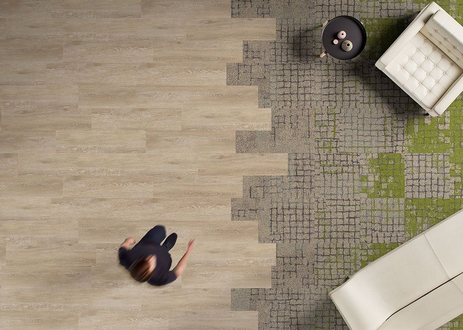 Level Set LVT flooring in Antique Light Oak with Human Connections carpet tiles in Moss, Moss in Stone , Sett in Stone and Kerbstone.