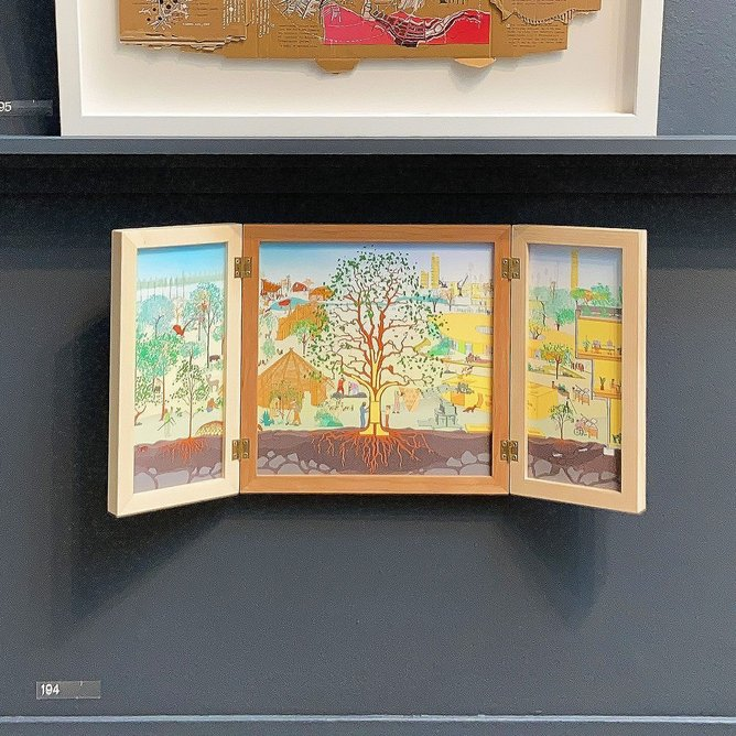 Treeptych by dRMM, depicting different aspects of building with wood from coppicing to construction. The frame, by Sebastian Cox, utilises three underused native UK species.