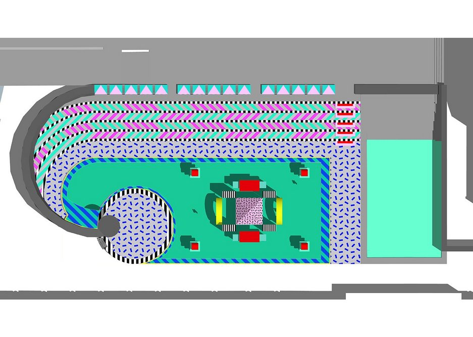 Render of Villa Walala. Camille Walala's colourful and playful installation is designed as a contrast with the Broadgate surroundings.