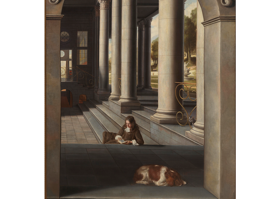 Young Man Reading in a Courtyard by Samuel Van Hoogstraten, 1662-6, private collection. Trompe l'oeil depictions were popular with members of the newly formed Royal Society as well as with the royal court.