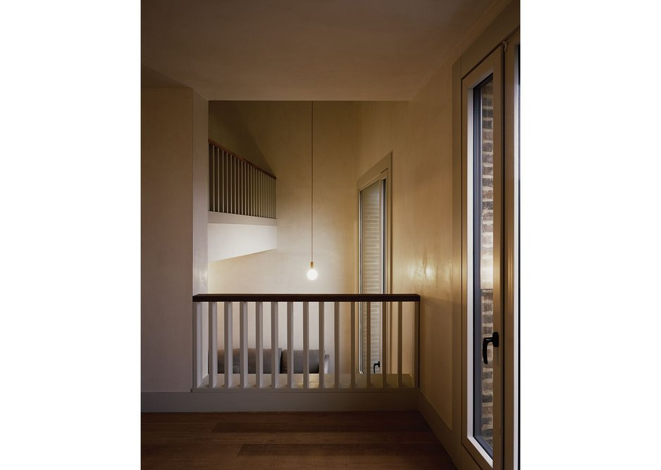 The split level section creates complex spaces that are simultaneously intimate and grand.