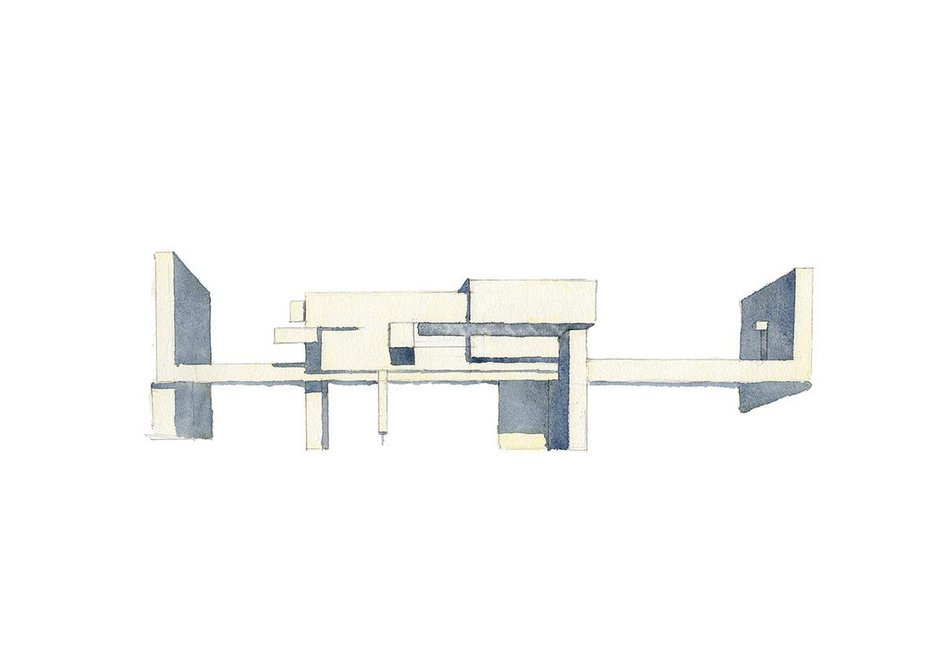 The Apollo Pavilion by Victor Pasmore in the New Town of Peterlee, County Durham, described by the author as a 'modernist folly'. Sketch by Rory Fraser