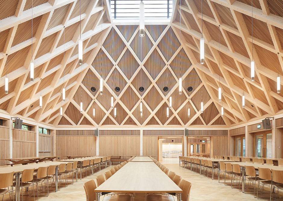 Main refectory hall with its 12m- tall timber ceiling. The building can accommodate 400 covers at once.