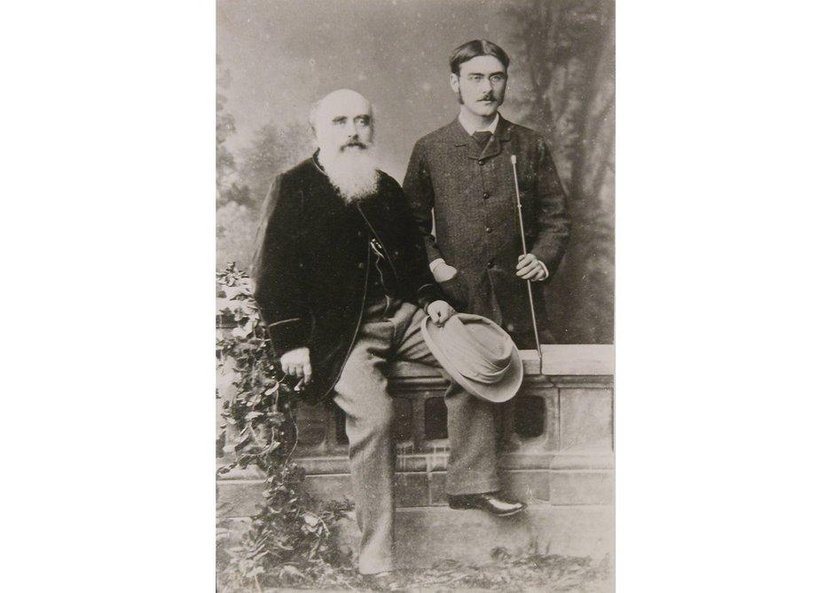 Lockwood Kipling with his son Rudyard Kipling, 1882.