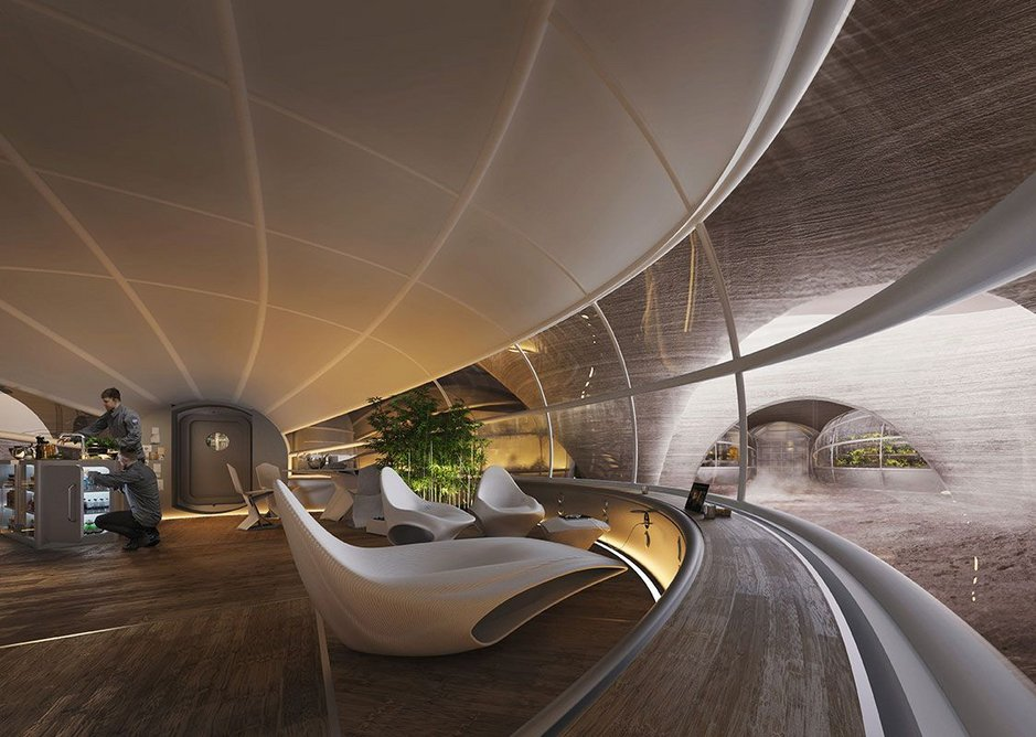 The living area features elegant white chairs that would be 3D printed using plastic waste.