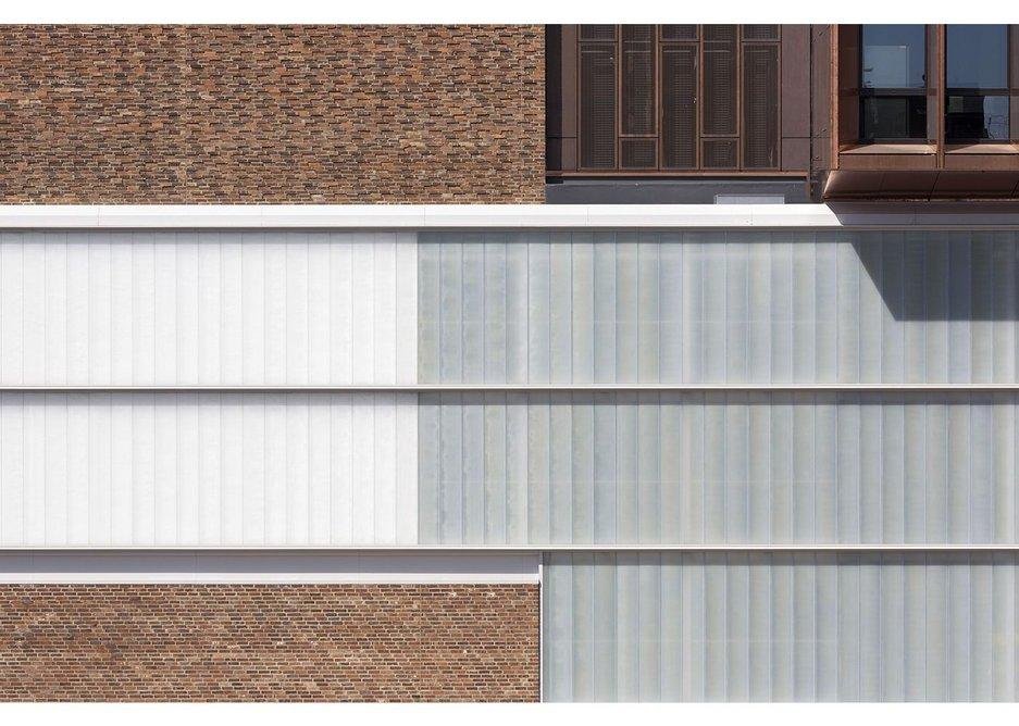 Cast glass keeps the façade solid. Chester Storyhouse, Rab Bennetts Associates.