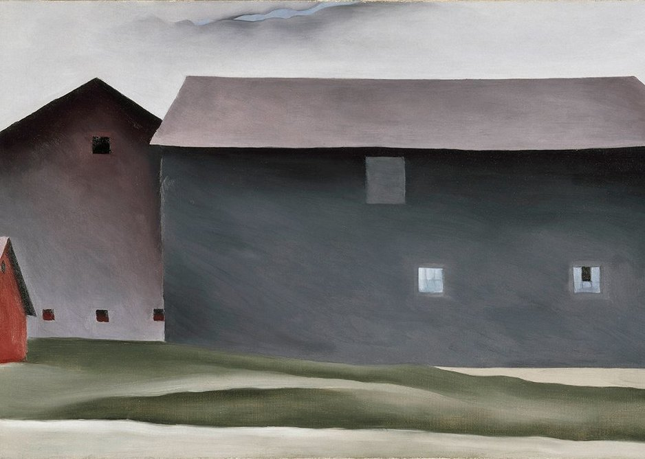 Lake George Barns by Georgia O'Keeffe, 1926.  Collection Walker Art Center, Minneapolis. Gift of the T.B. Walker Foundation, 1954.