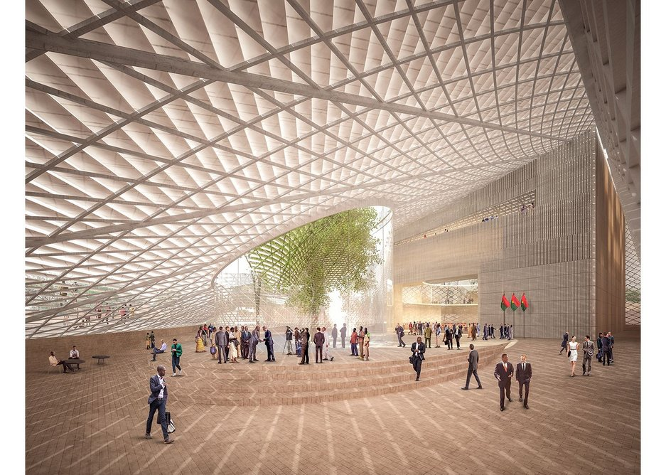 The interior of the new Burkina Faso National Assembly in Ouagadougou, which was designed as a building where people can meet, see and debate.