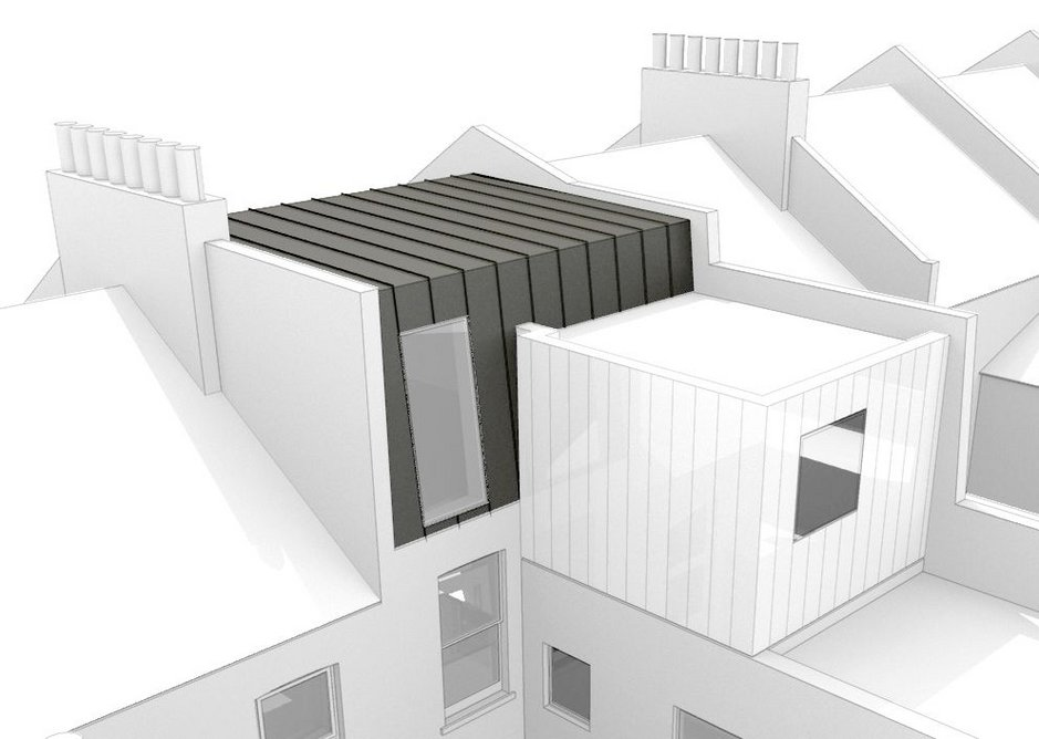 Roof extension proposal, by Conibere Phillips Architects which achieved planning based on an 'enhanced' PD scheme.