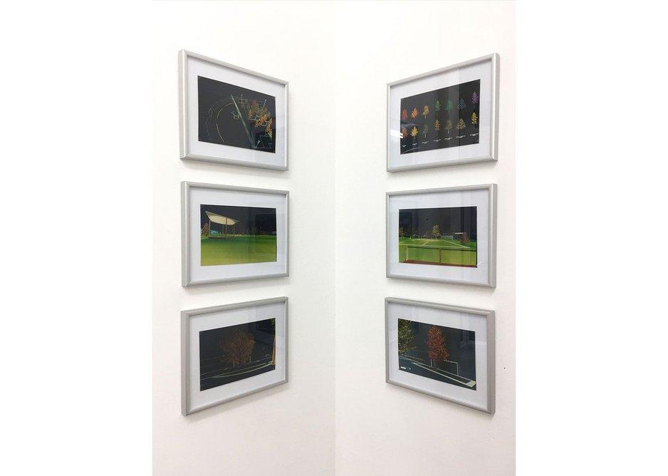 Exhibition view of images from Jacques Hondelatte's Jardin de Foot, Noisel, 1994.