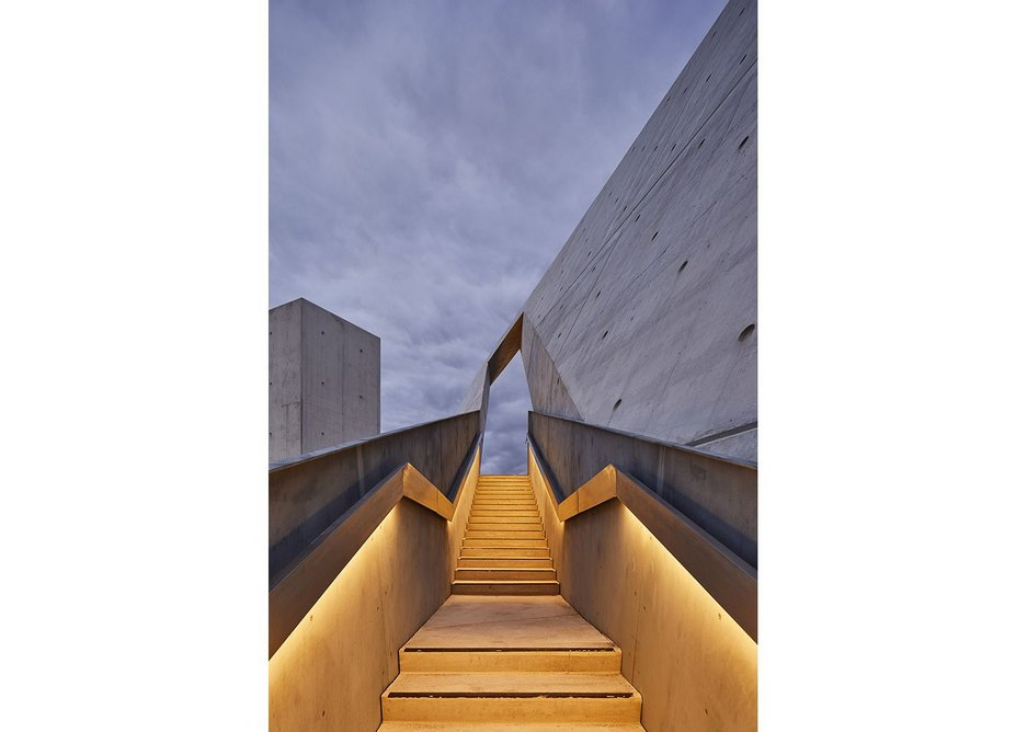 Daniel Libeskind's National Holocaust Memorial opened in Ottawa abstract Star of David made up of triangular concrete volumes.
