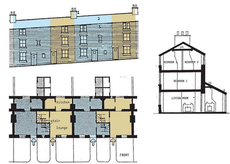 Millworker housing in Belper with interlocking stairs