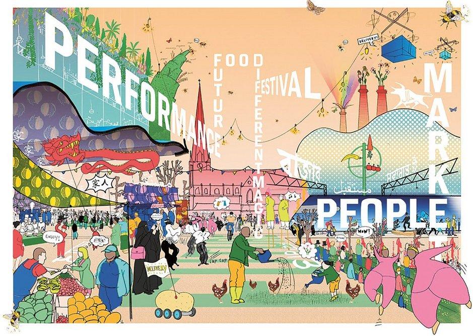 The winning Birmingham market scheme, by David Kohn Architects.
