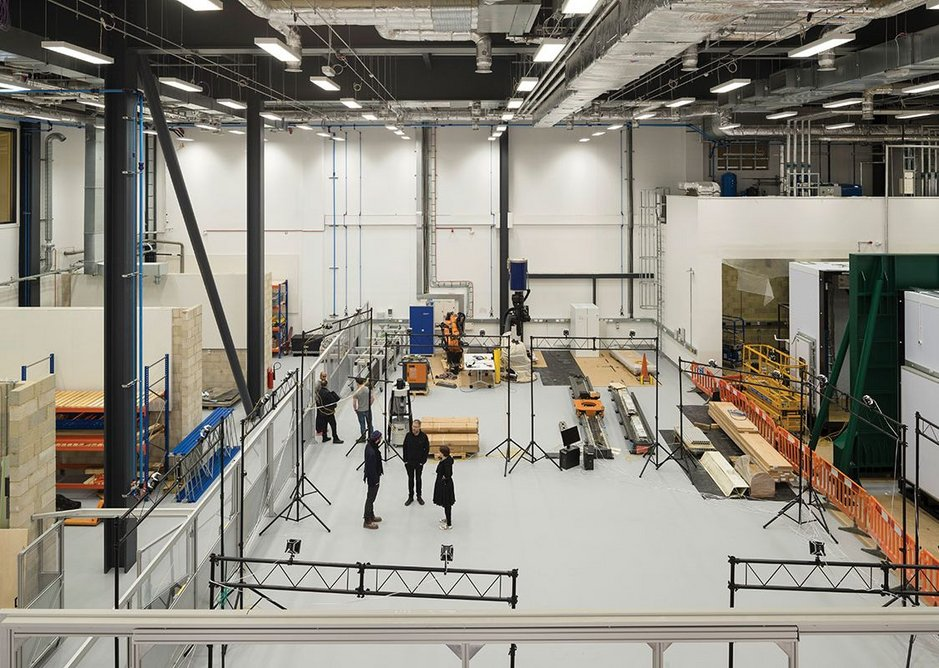 View into the robotics hall with the structural testing facility to the right.
