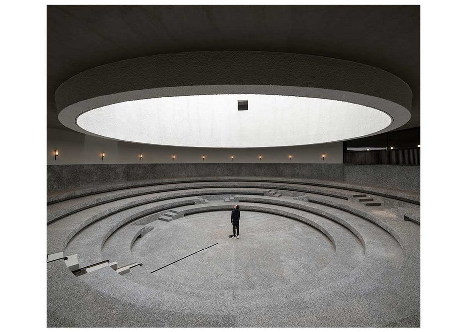 The courtyard carved out in the centre of Neri&Hu's Aranya Arts Center, in Qinhuangdao, northern China.
