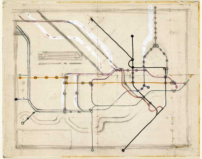 Original sketch diagram for the London Underground by Harry Beck 1903-74 for London Underground Ltd. London 1931-33. Pen and coloured ink (c) Victoria and Albert Museum, London. The diagram is included in the new Design 1900 – Now gallery at the V&A.