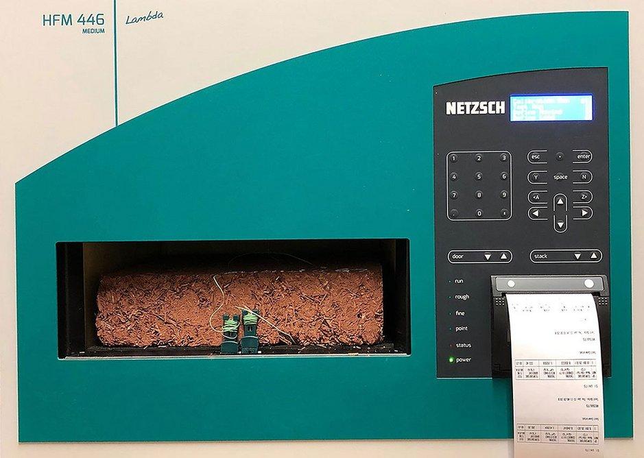 The material's U-value was measured using a Netzsche heat flow meter.