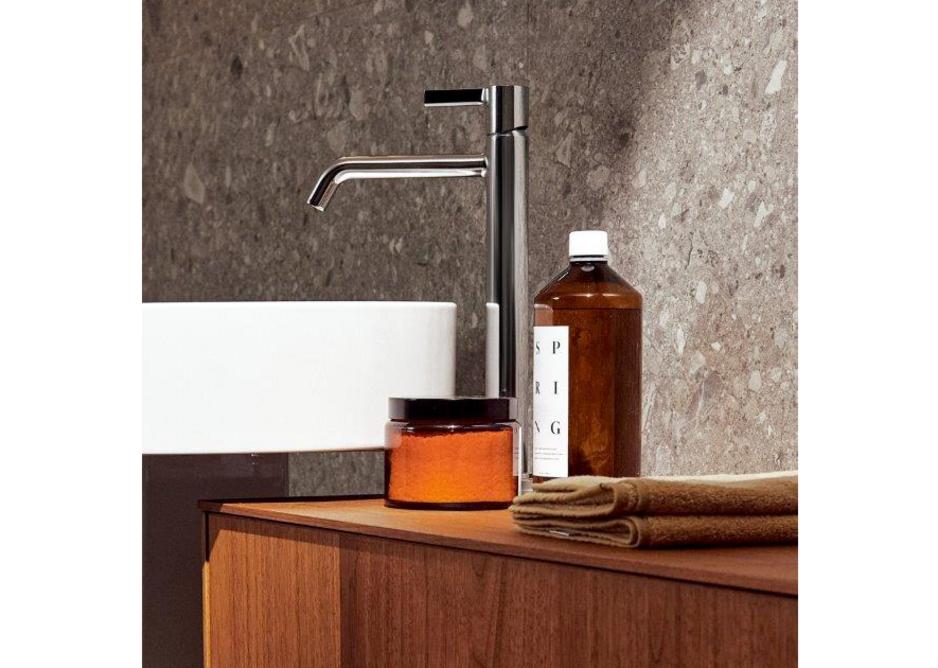 Joy Vessel mixer tap in Chrome with Conca Vessel 45cm-diameter washbasin and Conca four-drawer 240cm unit in Dark Walnut.