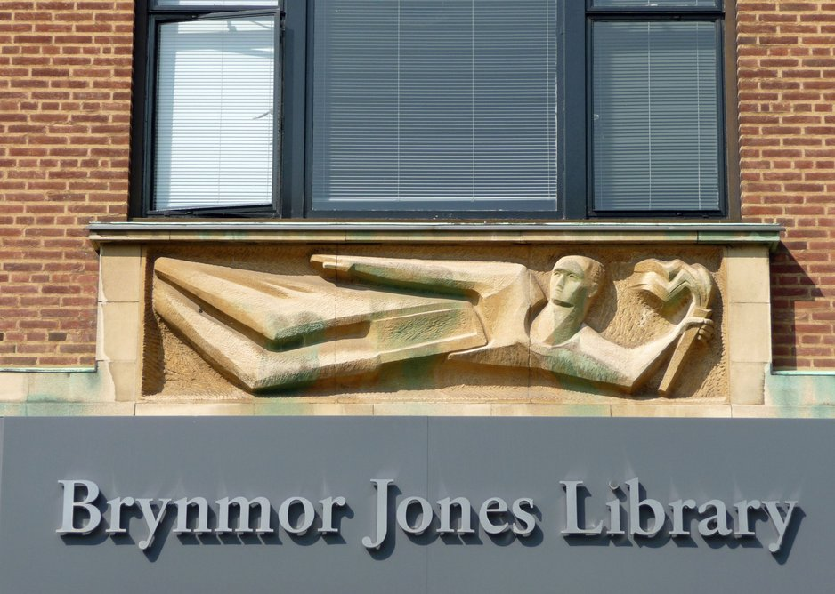 Larkin was less keen on Soukop's sculpture over the library's main entrance..
