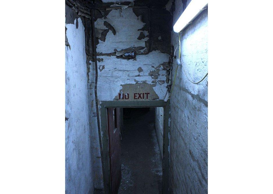 Plant room access door at Barnton Quarry Bunker, Edinburgh.