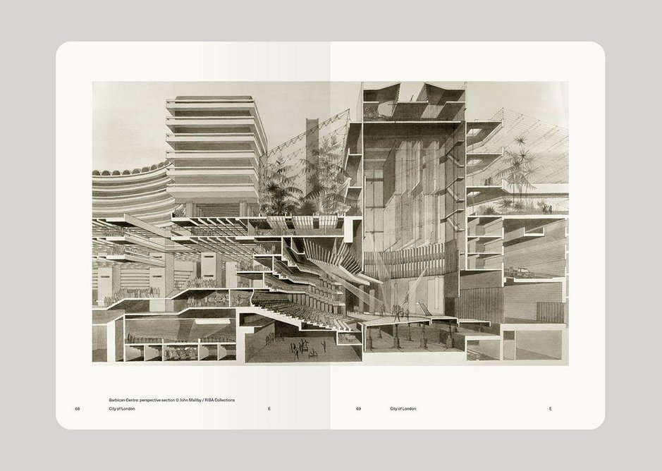 Spread from The Alternative Guide to the London Boroughs, Open House and Owen Hatherley, showing Barbican Centre perspective section © John Maltby/RIBA Collections