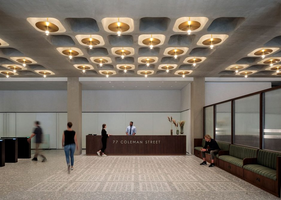 Existing concrete ceiling coffers were refurbished and replicated.