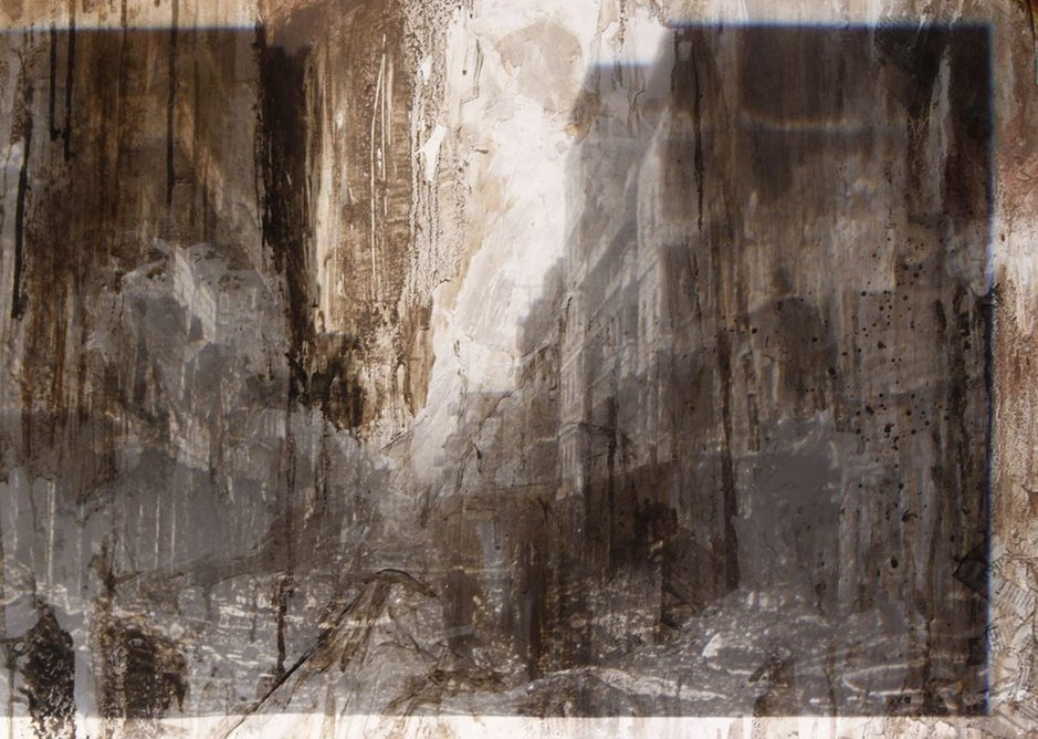 7.Mart Musekura, 'Spatial Boundaries in Conflict', 2016. Part of a series of paintings that Mart completed at A'level, exploring migrant movement in the Middle East.