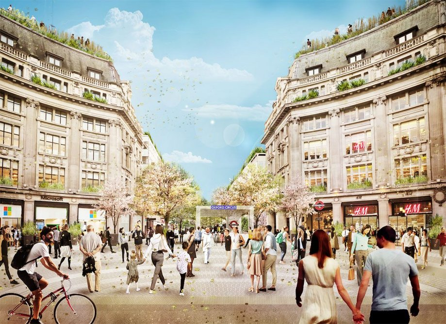 Section through Oxford Street showing two new piazzas at either end of Oxford Circus, with improved access and new entrances from the piazzas directly into the underground station.