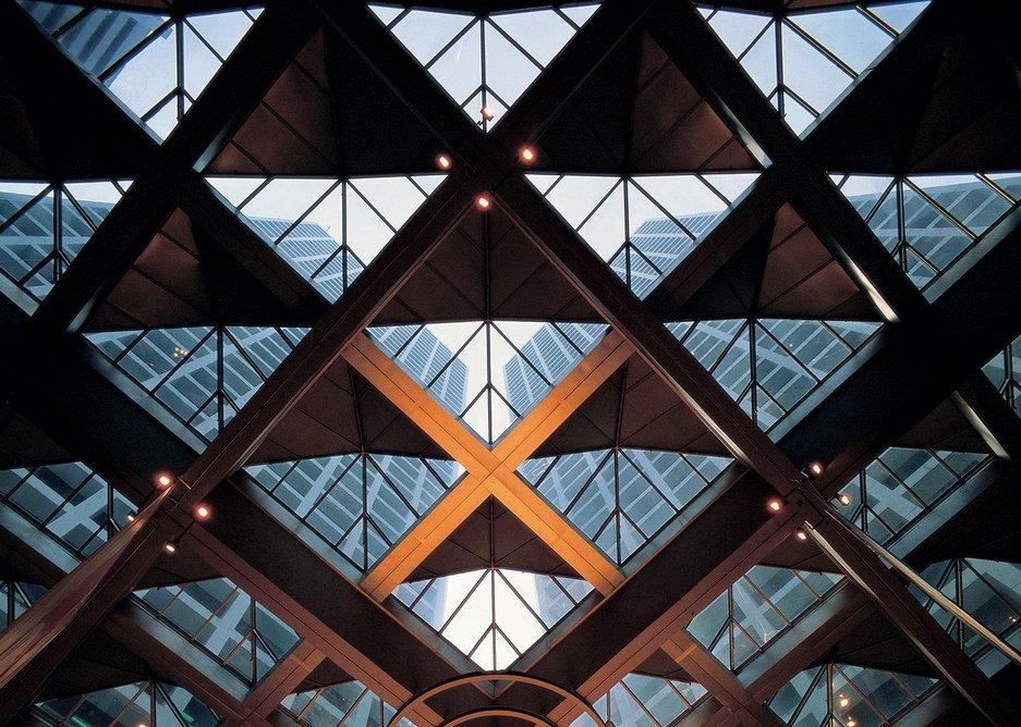 The Landmark: detail of skylight over atrium.