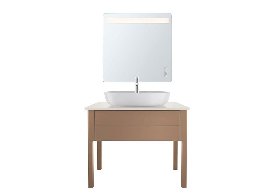 Simple elegance: Floorstanding Luv vanity unit, console and mirror with built-in light.