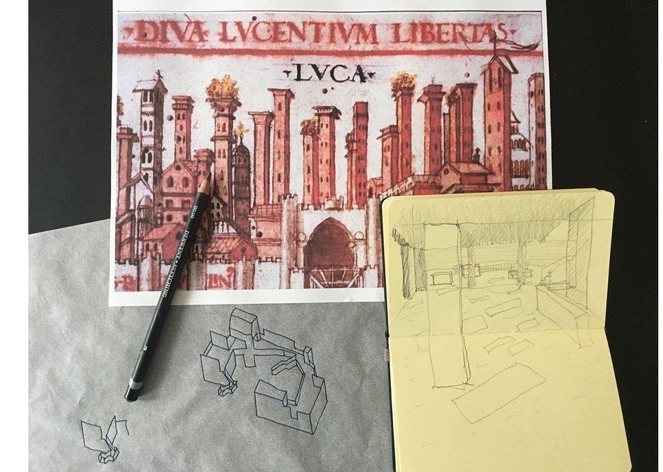 Ideas for design in a hill town inside a church.