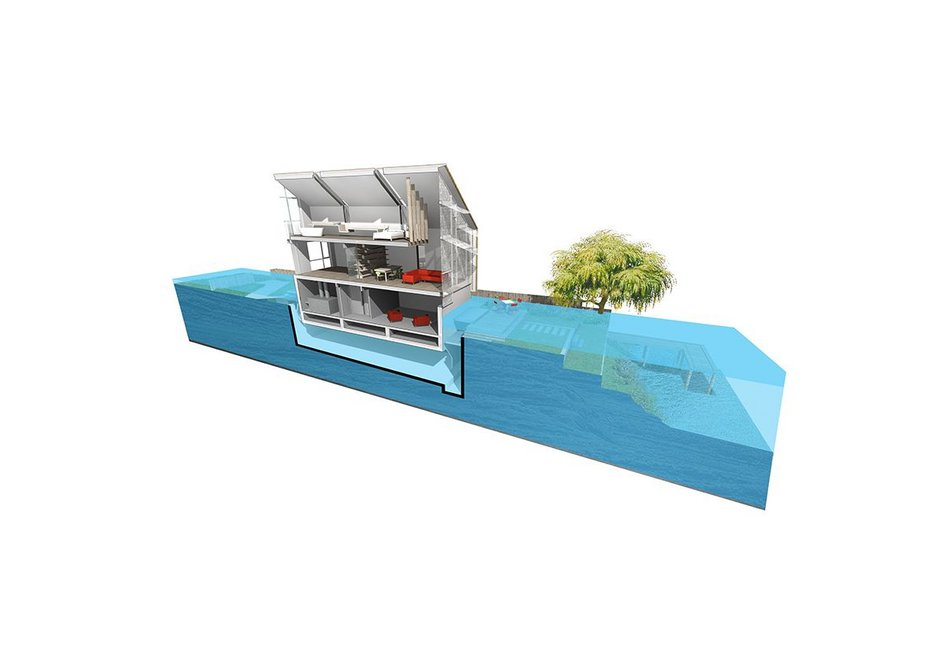 As water levels rise the house floats.