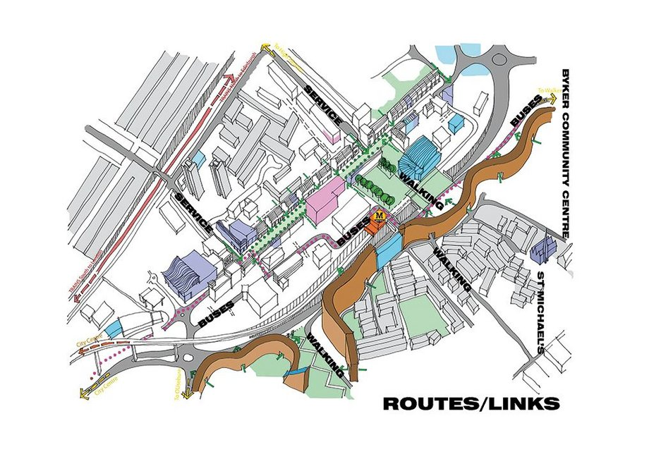 Diagram to show how xsite proposes to improve routes and links through  the area including creation of a pedestrianised high street.