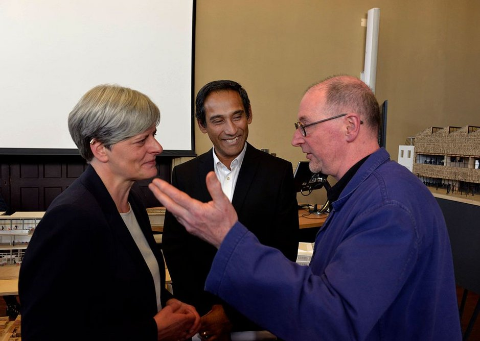 John Tuomey with competition committee members Fiona Beveridge and Soumyen Bandyopadhyay.