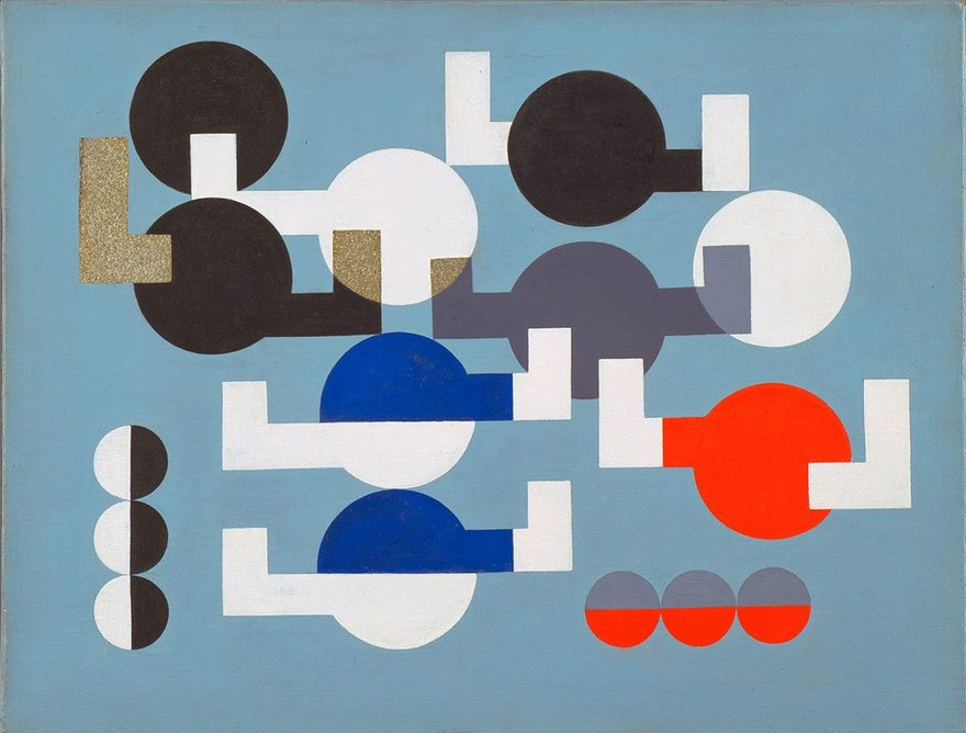Composition of Circles and Overlapping Angles by Sophie Taeuber-Arp, 1930.  The Museum of Modern Art, New York. The Riklis Collection of McCrory Corporation.  Photo: The Museum of Modern Art, Department of Imaging and Visual Resources.  © 2019 Artists Rights Society (ARS), New York / VG Bild-Kunst, Bonn