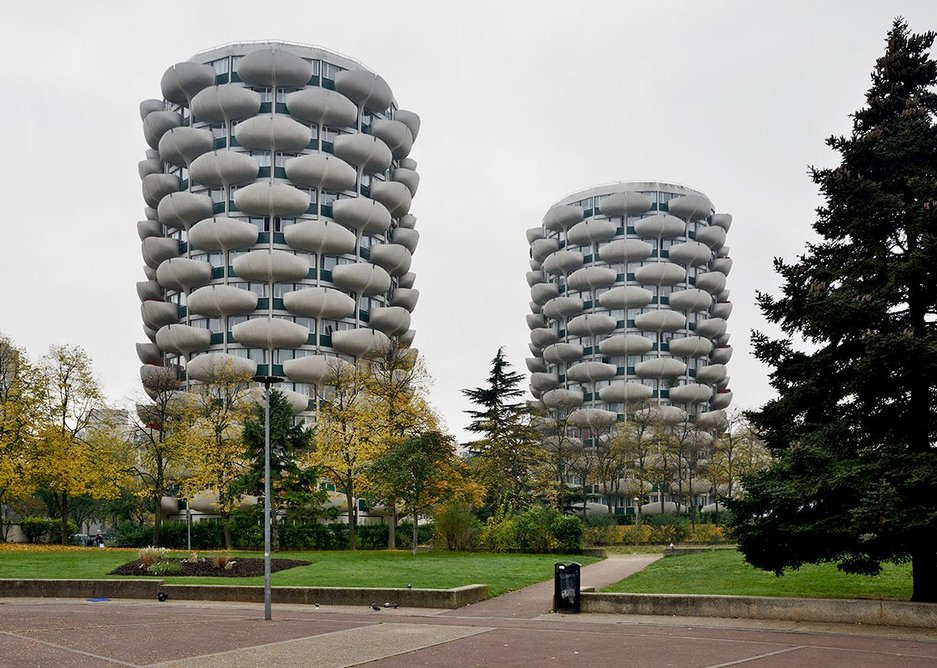Two of the ten famous Créteil towers, designed in1969-74 by Gérard Grandval.