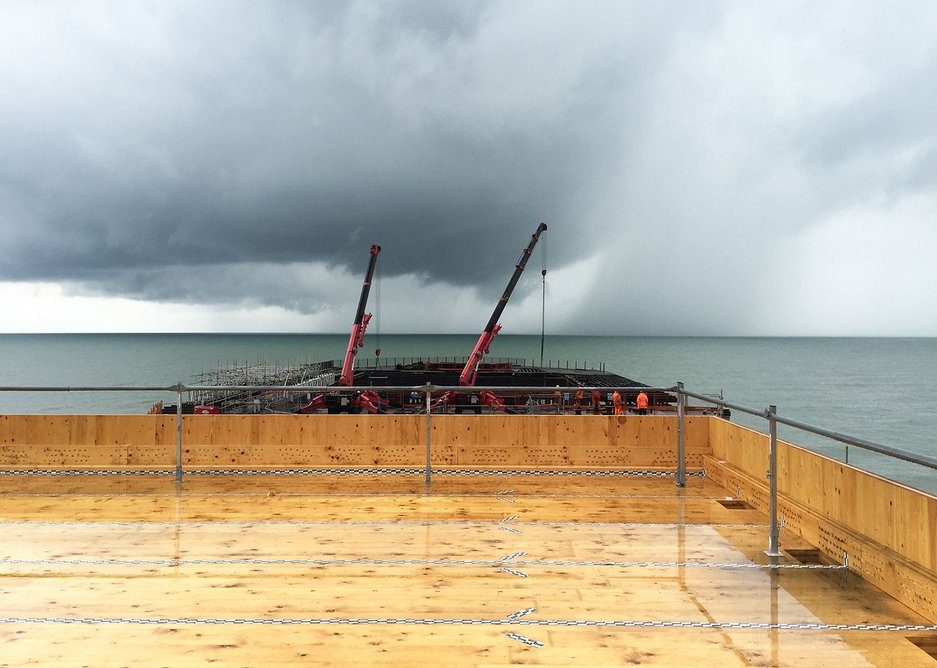 Hastings Pier under construction. More than 70% of the trusses were replaced.