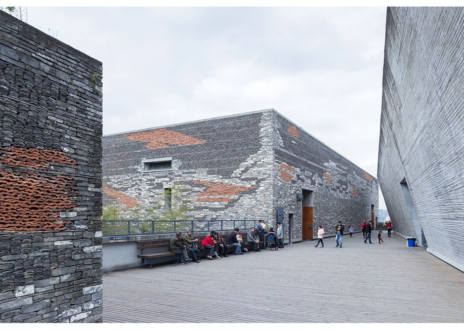 Ningbo Museum, Zhejiang Province, China by Amateur Architecture Studio. Public space is incorporated into the roofscape of the building.