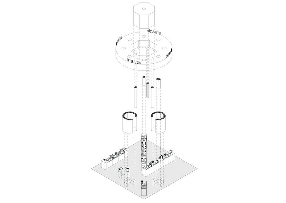 Exploded axonometric showing the stand's elements.