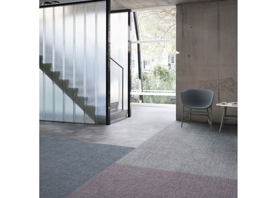 The Desso Linon carpet tile range unifies colour and texture to create a soft, homely feel in workplace settings.