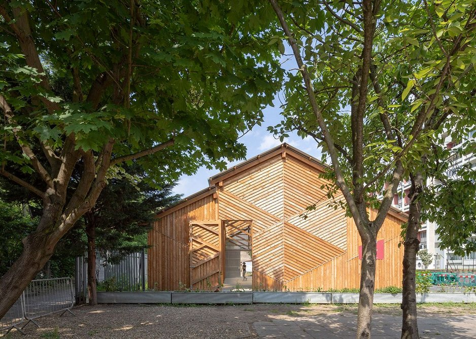The gable end of the farm's barn and its main and uplifting elevation to the street. MacEwen Award shortlisted Waterloo City Farm, Lambeth, London by Feilden Fowles Architects. Peter Cook