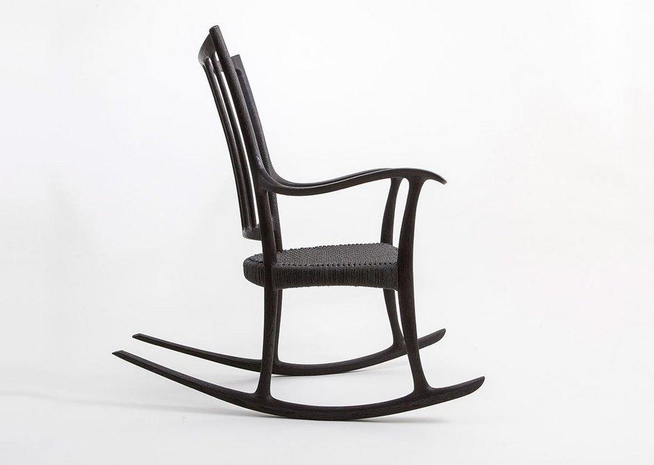 Scorched Oak Rocking Chair by Edward Barnsley Workshop.