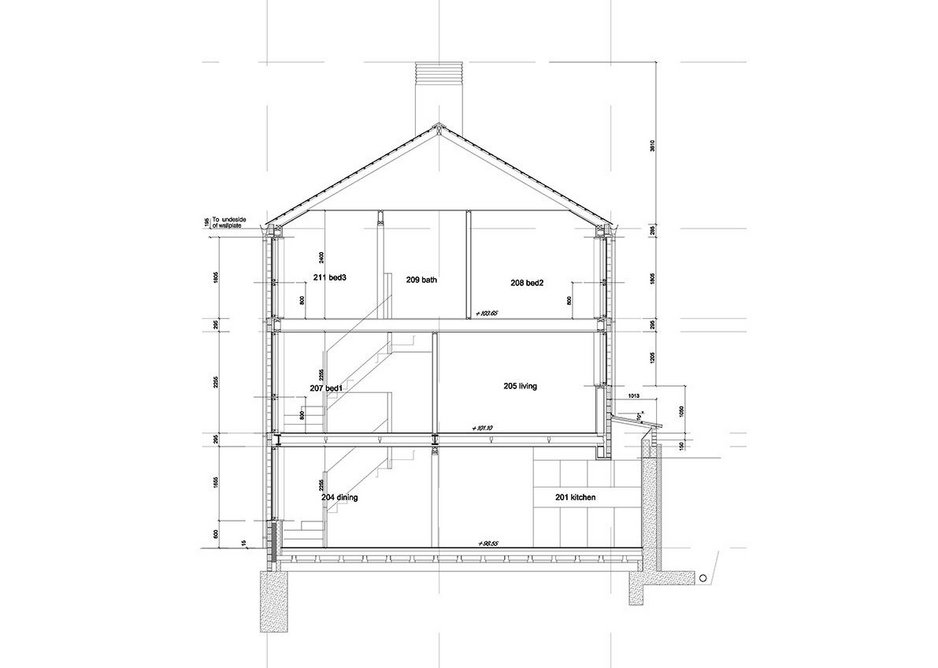 Section through centre pair of houses