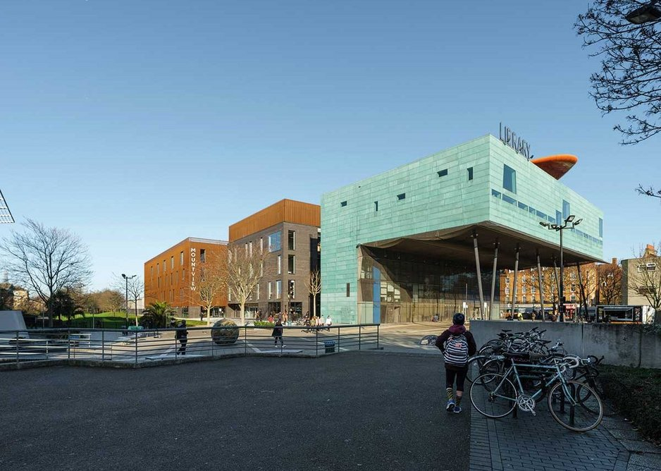 The new 10,000m2 academy nestles in behind will Alsop's prize-winning Peckham Library.