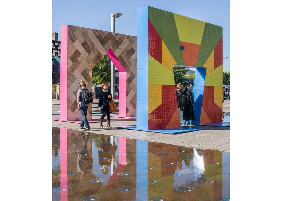 Adam Nathaniel Furman, Gateways, Granary Square, London Design Festival, 2017. A project that was devised initially to promote Turkish ceramics, it became a celebration of the vibrant and decorative possibilities of tiles in an urban setting – overflowing with current and historic references.