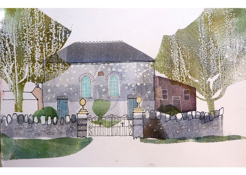 Chapel at Caerfarchell by Dick Evans, from the exhibition Dick Evans Welsh Chapels at MOMA, Machynlleth.
