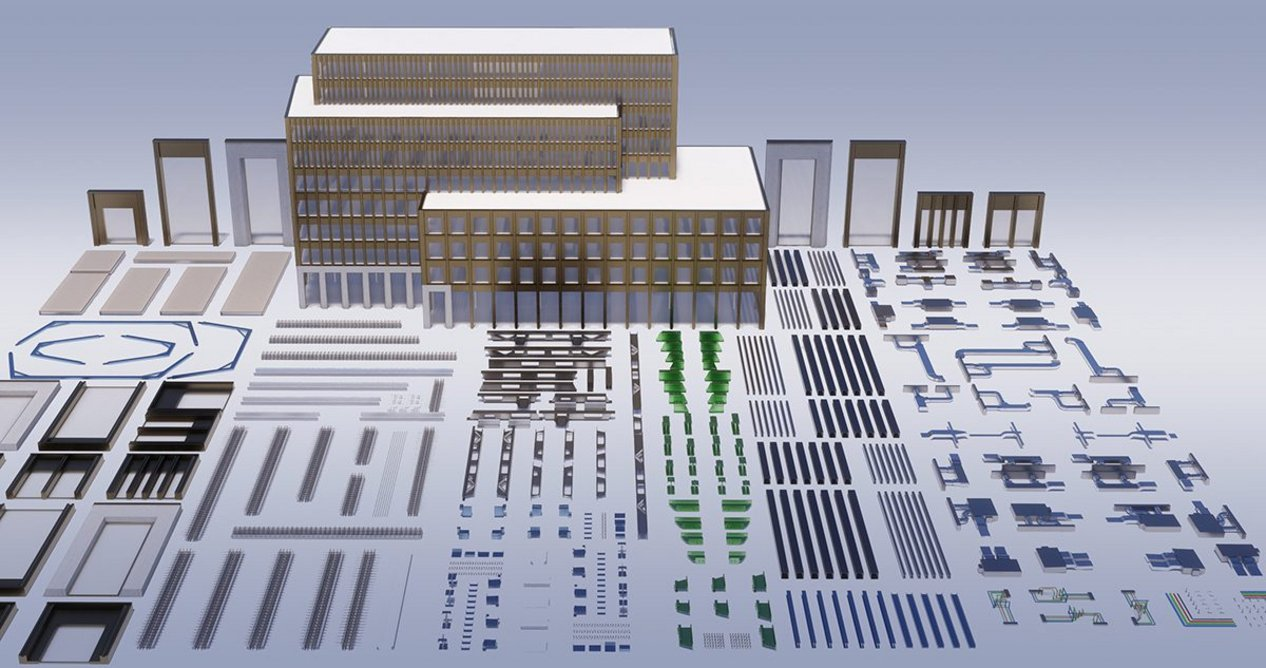The 'unpacked' kit of parts for the Forge office block in Southwark.